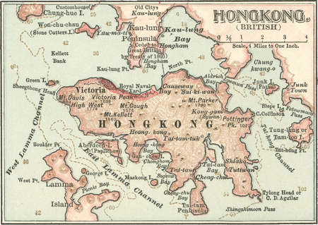 Map of Hong Kong, circa 1900, from the 10th edition of Encyclopaedia Britannica.