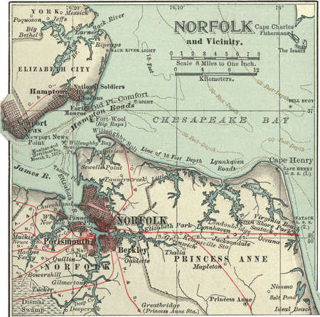 Map of Norfolk, Portsmouth, Newport News, Hampton, and Hampton Roads, circa 1900, from the 10th edition of Encyclopaedia Britannica.