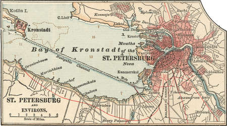 Map of St. Petersburg, circa 1900, from the 10th edition of Encyclopaedia Britannica.