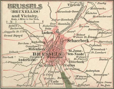 Map of the city of Brussels, Belgium, circa 1900, from the 10th edition of Encyclopaedia Britannica.
