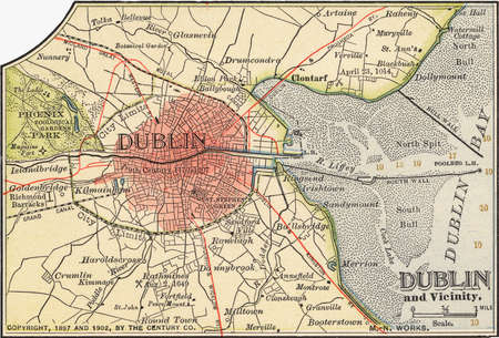 Map of Dublin, circa 1900, from the 10th edition of Encyclopaedia Britannica.