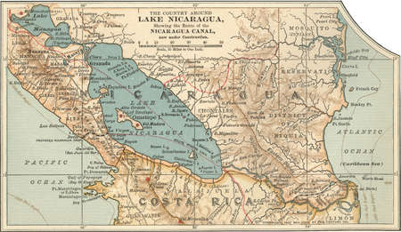 Map of Lake Nicaragua, circa 1900, from the 10th edition of Encyclopaedia Britannica.