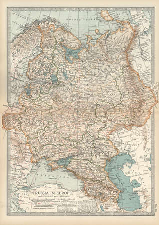 Map showing historical boundaries of Russia in Europe with Poland and Finland, circa 1902, from the 10th edition of Encyclopaedia Britannica.