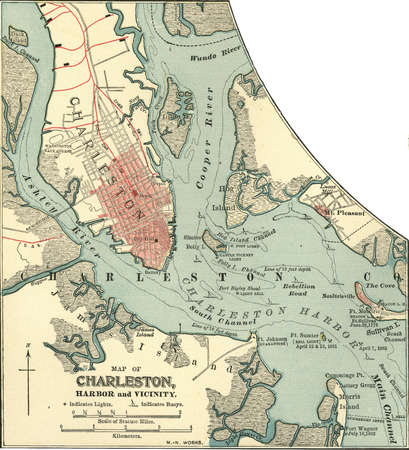 Map of Charleston, South Carolina, circa 1900, from the 10th edition of Encyclopaedia Britannica.