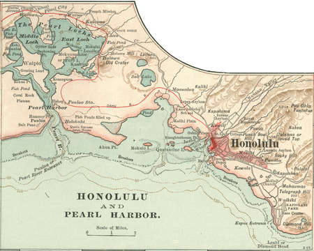 Map of Honolulu, Hawaii, circa 1900, from the 10th edition of Encyclopaedia Britannica.