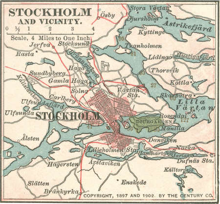 Map of Stockholm, Sweden, circa 1900, from the 10th edition of Encyclopaedia Britannica.