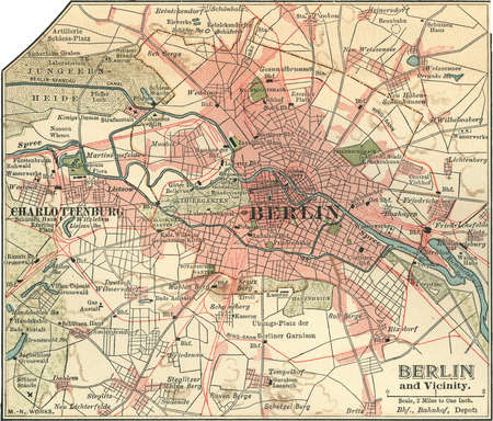 Map of the city of Berlin and vicinity, Germany, circa 1900, from the 10th edition of Encyclopaedia Britannica.