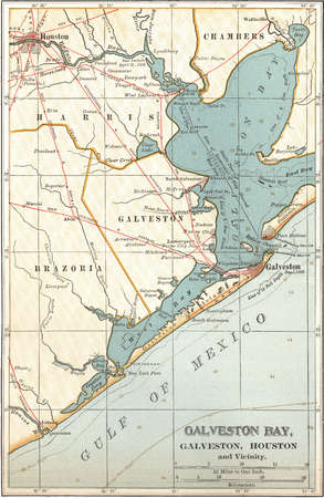 Map of Galveston Bay, Houston, circa 1900, from the 10th edition of Encyclopaedia Britannica.