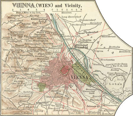 Map of Vienna, Austria, circa 1900, from the 10th edition of Encyclopaedia Britannica.