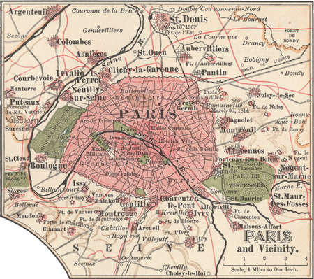 Map of Paris, circa 1900, from the 10th edition of Encyclopaedia Britannica.