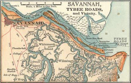 Map of Savannah, Georgia, circa 1900, from the 10th edition of Encyclopaedia Britannica.