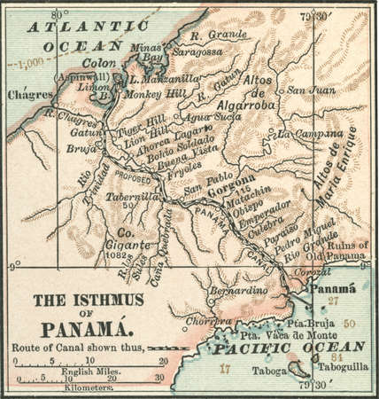 Map of central Panama, highlighting the proposed route of the Panama Canal through the isthmus, circa 1900, from the 10th edition of Encyclopaedia Britannica.