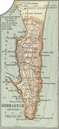 Map of Gibraltar, circa 1900, from the 10th edition of Encyclopaedia Britannica.