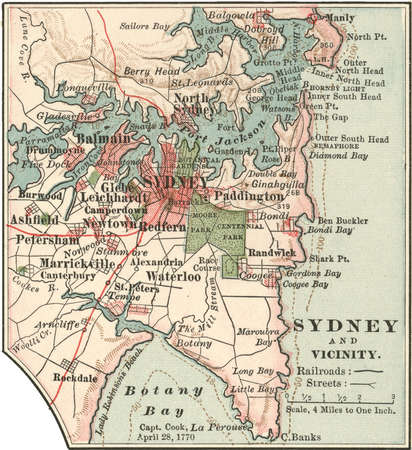 Map of Sydney, Australia, circa 1900, from the 10th edition of Encyclopaedia Britannica.