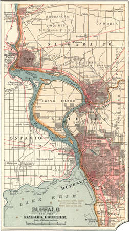 Map of Buffalo, New York, and the Niagara Frontier, circa 1900, from the 10th edition of Encyclopaedia Britannica.