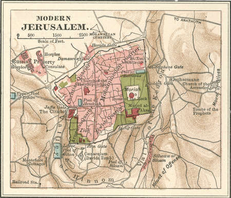Map of Jerusalem, circa 1900, from the 10th edition of Encyclopaedia Britannica.