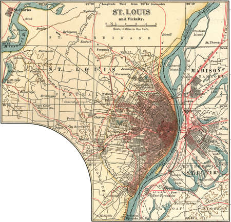 Map of St. Louis, Missouri, circa 1900, from the 10th edition of Encyclopaedia Britannica.