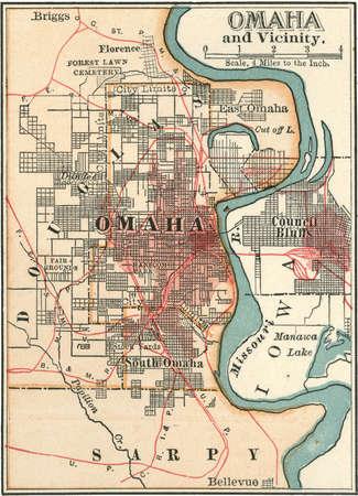 Map of Omaha, Nebraska, circa 1902, from the 10th edition of Encyclopaedia Britannica.