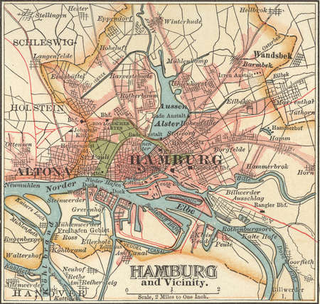 Map of Hamburg, circa 1900, from the 10th edition of Encyclopaedia Britannica.