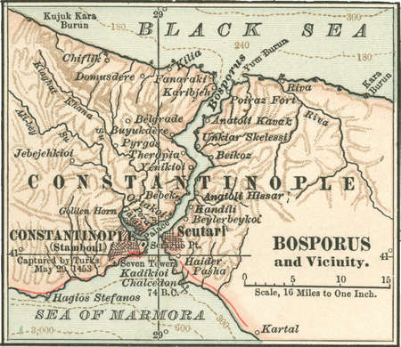 Map of Bosphorus, circa 1900, from the 10th edition of Encyclopaedia Britannica.