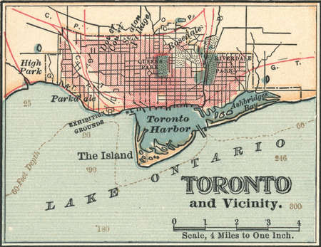 Map of Toronto, Canada, circa 1900, from the 10th edition of Encyclopaedia Britannica.