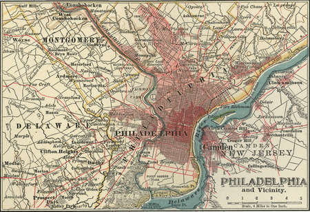 Map of Philadelphia, Pennsylvania, circa 1900, from the 10th edition of Encyclopaedia Britannica.