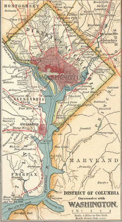 Map of Washington, D.C., circa 1900, from the 10th edition of Encyclopaedia Britannica.