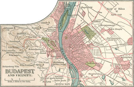 Map of the city of Budapest, Hungary from the 10th edition of Encyclopaedia Britannica.