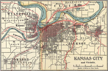 Map of Kansas City, Kansas, circa 1900, from the 10th edition of Encyclopaedia Britannica.