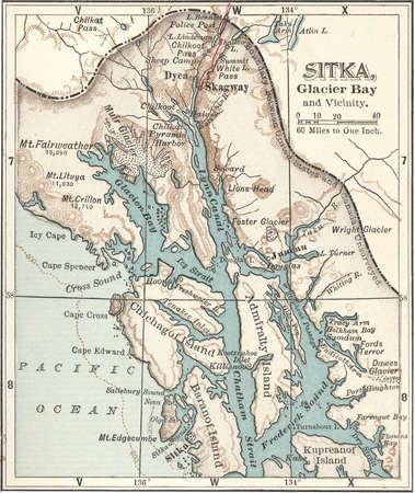 Map of Sitka and Glacier Bay, Alaska, circa 1902, from the 10th edition of Encyclopaedia Britannica.