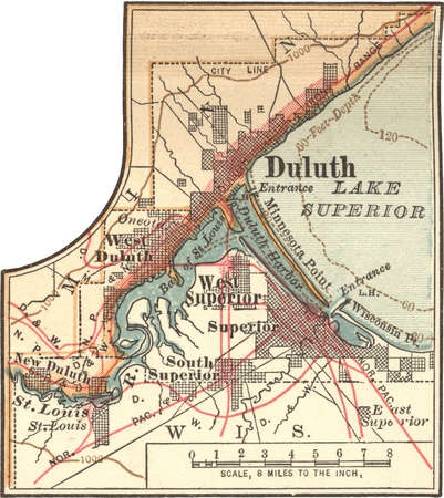 Map of Duluth, Minnesota, circa 1902, from the 10th edition of Encyclopaedia Britannica.