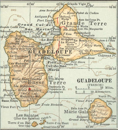 Map of Guadeloupe, circa 1902, from the 10th edition of Encyclopaedia Britannica.