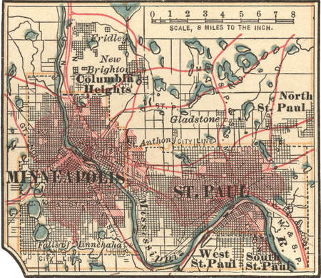 Map of Minneapolis and St. Paul, Minnesota, circa 1902, from the 10th edition of Encyclopaedia Britannica.
