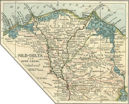 Map of Nile Delta and Suez Canal, Egypt, circa 1902, from the 10th edition of Encyclopaedia Britannica.