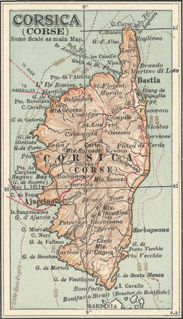 Map of Corsica, France, circa 1902, from the 10th edition of Encyclopaedia Britannica.