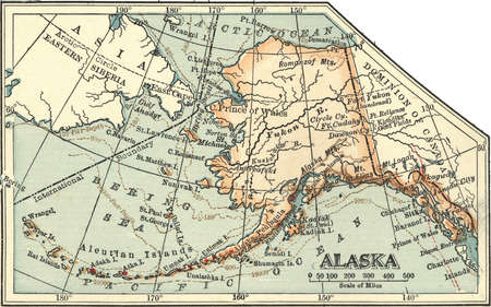 Map of Alaska, United States, circa 1902, from the 10th edition of Encyclopaedia Britannica.