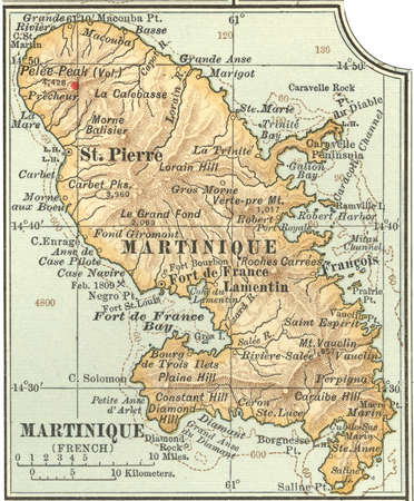 Map of Martinique, circa 1902, from the 10th edition of Encyclopaedia Britannica.