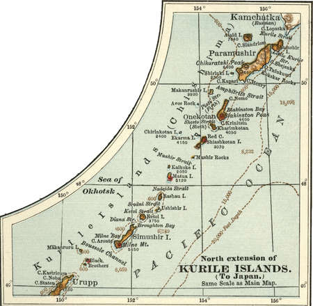 Map of the North extension of Kurile Islands (then part of Japan), circa 1902, from the 10th edition of Encyclopaedia Britannica.