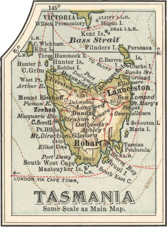 Map of Tasmania, Australia, circa 1902, from the 10th edition of Encyclopaedia Britannica.