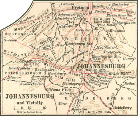 Stock Illustration  Map of Johannesburg South Africa circa 1902