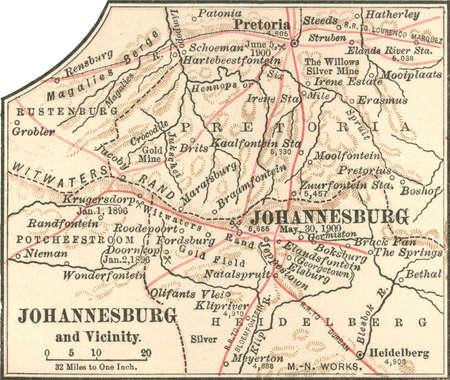 Stock Illustration Map of Johannesburg South Africa circa 1902