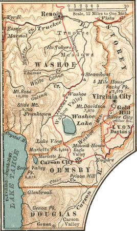 Map of Reno, Carson City, and Virginia City, Nevada, circa 1902, from the 10th edition of Encyclopaedia Britannica.