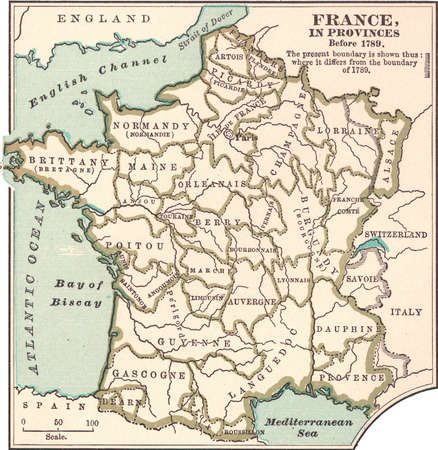 Map of the provinces of France before the French Revolution in 1789, circa 1902, from the 10th edition of Encyclopaedia Britannica.