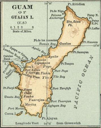 Map of Guam or Guajan Island (U.S.), circa 1902, from the 10th edition of Encyclopaedia Britannica.