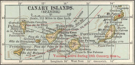 Map of Canary Islands (Spanish), circa 1902, from the 10th edition of Encyclopaedia Britannica.