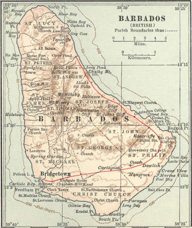Map showing the parish boundaries of Barbados, circa 1902, from the 10th edition of Encyclopaedia Britannica.