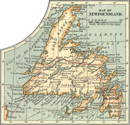 Map of Newfoundland, Canada, circa 1902, from the 10th edition of Encyclopaedia Britannica.
