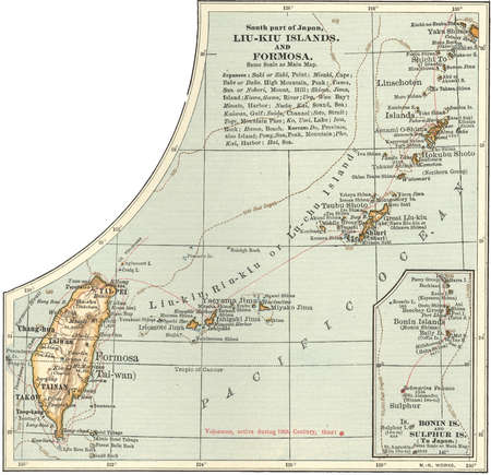 Historical map of Southern part of Japan, Liu-Kiu Islands and Formosa with inset map of Bonin and Sulphur Islands, circa 1902, from the 10th edition of Encyclopaedia Britannica.