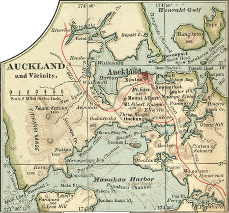 Map of Auckland, New Zealand, circa 1902, from the 10th edition of Encyclopaedia Britannica.