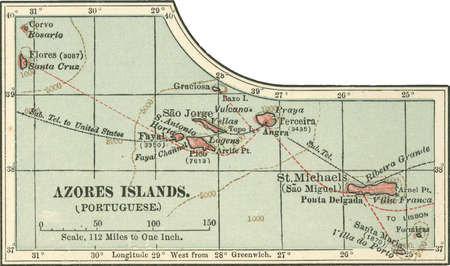 Map of Azores Islands (Portuguese), circa 1900, from the 10th edition of Encyclopaedia Britannica.